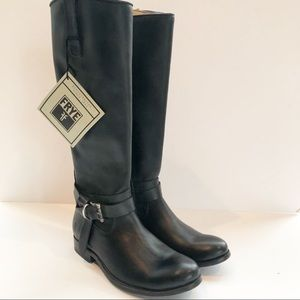 Frye Melissa Black Leather Tall Riding Boots 6.5